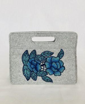 Bolsa despesa malas flores azuis